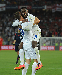 England's Danny Welbeck (Arsenal) celebrates his 2nd goal with England's Rickie Lambert (Liverpool)  - Photo mandatory by-line: Joe Meredith/JMP - Mobile: 07966 386802 - 08/09/14 - SPORT - FOOTBALL - Switzerland - Basel - St Jacob Park - Switzerland v England - Uefa Euro 2016 Group E Qualifier