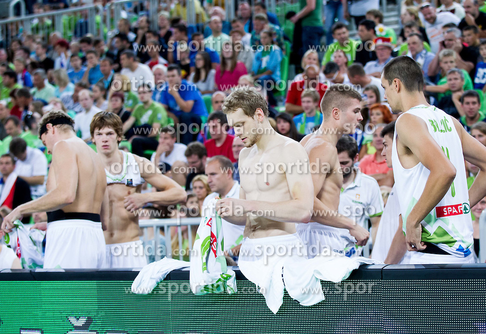 Jaka Blazic of Slovenia prior to the friendly basketball match between National Teams of Slovenia and Brasil at Day 2 of Telemach Tournament on August 22, 2014 in Arena Stozice, Ljubljana, Slovenia. Photo by Vid Ponikvar / Sportida