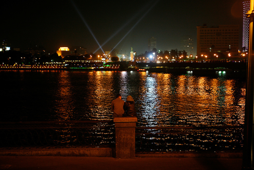 The Nile River at night, Cairo.