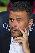 Luis Enrique wait for the match during the La Liga match between Barcelona and Atletico Madrid at Camp Nou, Barcelona, Spain on 21 September 2016. Photo by Eric Alonso.