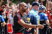 Manchester United goalkeeper Lee Grant arrives at the stadium from the coach during the Manchester United and Liverpool International Champions Cup match at the Michigan Stadium, Ann Arbor, United States on 28 July 2018.