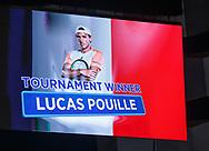 Anzeigetafel zeigt den Sieger LUCAS POUILLE (FRA) Stadionmonitor<br /> <br /> Tennis - ERSTE BANK OPEN 2017 - ATP 500 -  Stadthalle - Wien -  - Oesterreich  - 29 October 2017. <br /> &copy; Juergen Hasenkopf