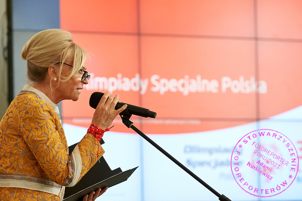 Katarzyna Frank Niemczycka President of Special Olympics Poland speaks during 30 years anniversary of The Special Olympics Poland at Presidential Palace in Warsaw on March 18, 2015.<br /> <br /> Poland, Warsaw, March 18, 2015<br /> <br /> For editorial use only. Any commercial or promotional use requires permission.<br /> <br /> Mandatory credit:<br /> Photo by &copy; Adam Nurkiewicz / Mediasport