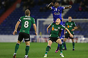 Scunthorpe United midfielder Sam Mantom (17) and Ousmane Fané of Oldham Athletic battle for a high ball during the EFL Sky Bet League 1 match between Oldham Athletic and Scunthorpe United at Boundary Park, Oldham, England on 18 October 2016. Photo by Simon Brady.