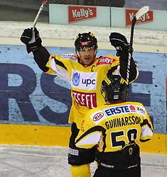 31.01.2012, Albert Schultz Halle, Wien, AUT, EBEL, UPC Vienna Capitals vs HC Orli Znojmo, im Bild Torjubel von Dan Bjornlie, (UPC Vienna Capitals, #28) und Filip Gunnarsson, (UPC Vienna Capitals, #58) // during the icehockey match of EBEL between UPC Vienna Capitals (AUT) and HC Orli Znojmo (CZE) at Albert Schultz Halle, Vienna, Austria on 31/01/2012,  EXPA Pictures © 2012, PhotoCredit: EXPA/ T. Haumer