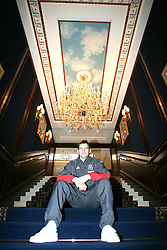 VIENNA, AUSTRIA - TUESDAY MARCH 29th 2005: Wales' Sam Ricketts pictured under a chandelier at the Intercontinental Hotel in Vienna ahead of his side's World Cup Qualifying Group Six match against Austria. (Pic by David Rawcliffe/Propaganda)