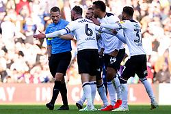 Derby County players surround the referee - Mandatory by-line: Ryan Crockett/JMP - 11/05/2019 - FOOTBALL - Pride Park Stadium - Derby, England - Derby County v Leeds United - Sky Bet Championship Play-off Semi Final 1st Leg