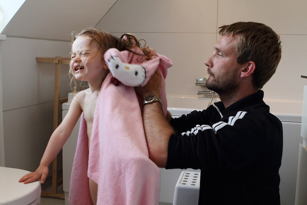 Aarhus, Denmark, June 13rd, 2010. Thomas  and Aja. Thomas took two months of paternity leave to care for children while his wife Vinne works.