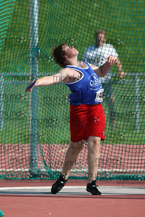 (Sherbrooke, Quebec---10 August 2008) Simon Beaulieu competing in the discus at the 2008 Canadian National Youth and Royal Canadian Legion Track and Field Championships in Sherbrooke, Quebec. The photograph is copyright Sean Burges/Mundo Sport Images, 2008. More information can be found at www.msievents.com.
