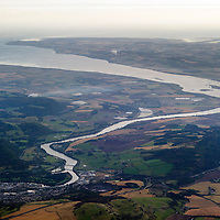 The River Tay, the City of Perth is pictured in the bottom left of the photograph and in the distance Dundee can just be seen with the Tay Road and Rail Bridges.<br /> <br /> Picture by Graeme Hart.<br /> Copyright Perthshire Picture Agency<br /> Tel: 01738 623350  Mobile: 07990 594431