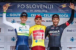 General winner Tour of Slovenia Taaramae Rein (Estonia) of Team Katusha  during trophy ceremony, second best Haig Jack (Austrialia) of Orica GreenEdge , Barta Jan (Czech Republic) of Bora-Argon 18 after Stage 4 of 23rd Tour of Slovenia 2016 / Tour de Slovenie from Rogaska Slatina to Novo mesto (165,5 km) cycling race on June 19, 2016 in Slovenia. Photo by Grega Valancic / Sportida