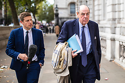 "© Licensed to London News Pictures. 03/09/2019. London, UK. Sir Nicholas Soames, believed to be one of the Tory ""rebels"" willing to vote against the government, arrives at the Cabinet Office. MPs return from recess today and may vote on legislation to block a no deal exit from the European Union. Photo credit: Rob Pinney/LNP"