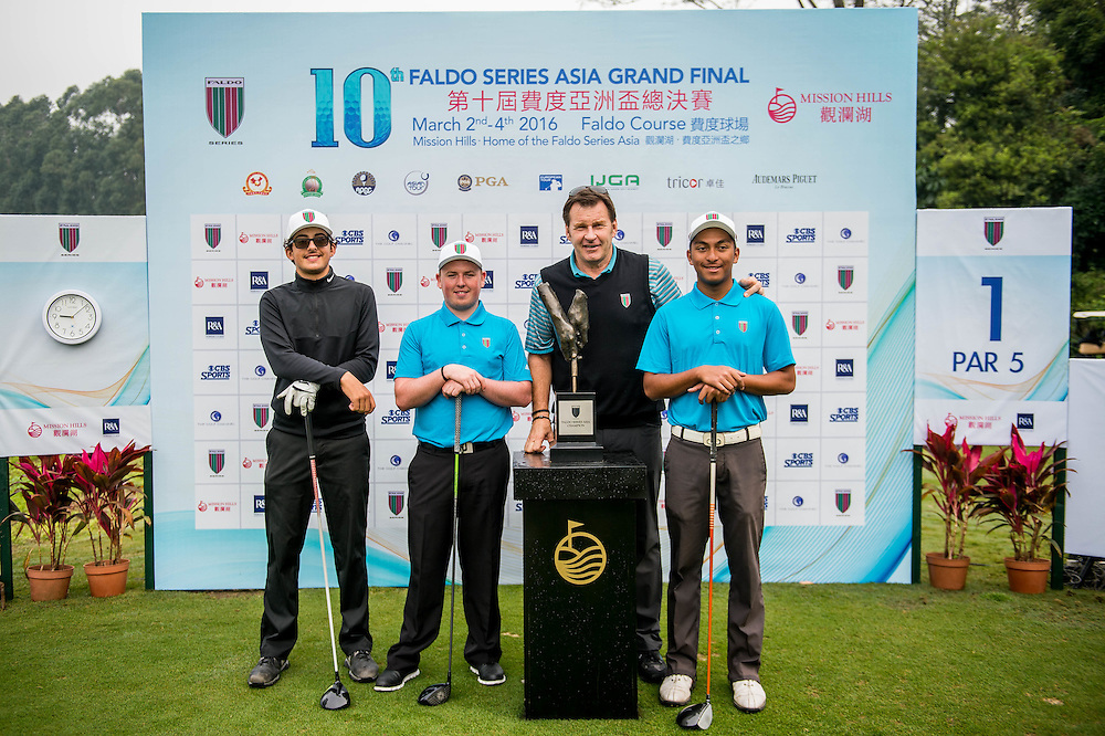 Sir Nick Faldo, Jack Yule of England, Samual Nashaar of Australia and Leon Philip D´Souza of Hong Kong during day three of the 10th Faldo Series Asia Grand Final at Faldo course on 04 March of 2016 in Shenzhen, China. Photo by Xaume Olleros.