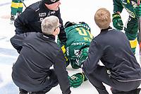 2020-01-17 | Umeå, Sweden:Björklöven (40) Sebastian Selin injured in HockeyAllsvenskan during the game  between Björklöven and Timrå at A3 Arena ( Photo by: Michael Lundström | Swe Press Photo )<br /> <br /> Keywords: Umeå, Hockey, HockeyAllsvenskan, A3 Arena, Björklöven, Timrå, mlbt200117, hurt, injured, pain