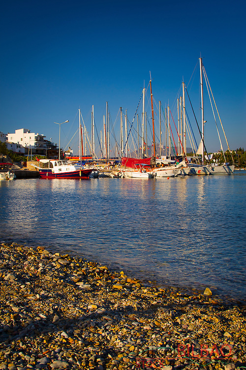 Harbour and sailboats. Datca city.<br /> Datca peninsula, Mugla province, Anatolia, Turkey.