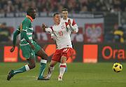 POZNAN 17/11/2010.FOOTBALL INTERNATIONAL FRIENDLY.POLAND v IVORY COAST.Ludovic Obraniak of Poland and Yaya Toure of Ivory Coast ..Fot: Piotr Hawalej / WROFOTO