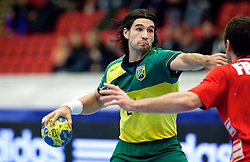 14.01.2011, Himmelstalundshallen, Norrköping, SWE, IHF Handball Weltmeisterschaft 2011, Herren, Österreich vs Brasilien, im Bild, // Brazil #21 Gustavo Nakamura Cardoso // during the IHF 2011 World Men's Handball Championship match Austria vs Brazil at Himmelstalundshallen in Norrkoping, Sweden on 14/1/2011. EXPA Pictures © 2011, PhotoCredit: EXPA/ Skycam/ Michael Buch +++++ ATTENTION - ..OUT OF SWEDEN/SWE +++++