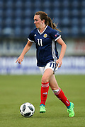 Lisa Evans (#11) of Scotland on the ball during the FIFA Women's World Cup UEFA Qualifier match between Scotland Women and Belarus Women at Falkirk Stadium, Falkirk, Scotland on 7 June 2018. Picture by Craig Doyle.