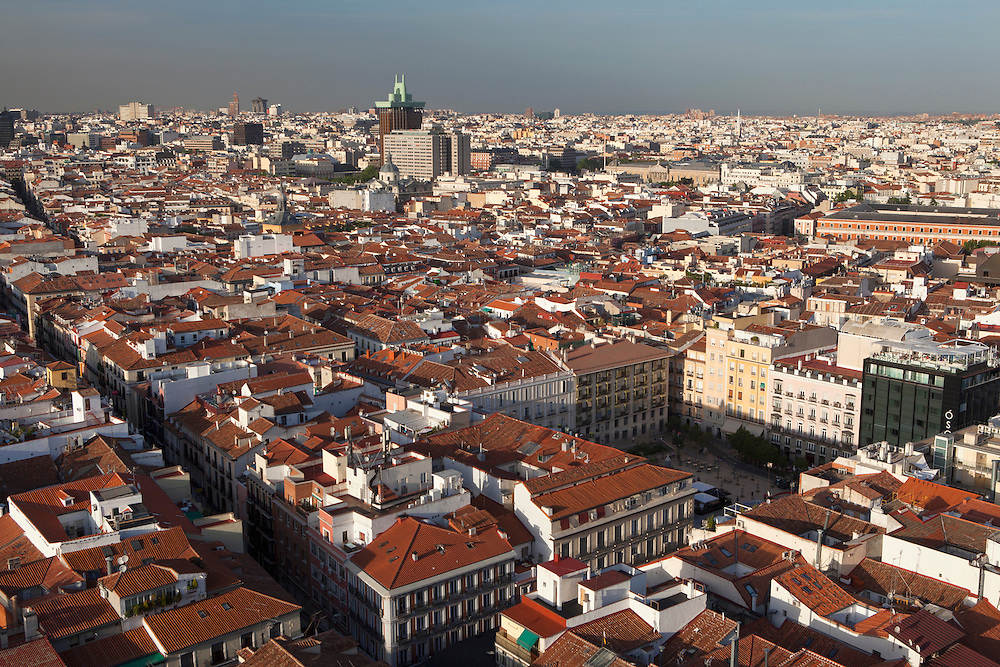 Panoramic view of Madrid at sunset, Spain.