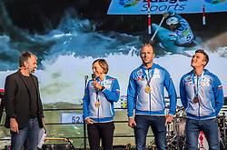 Eva Tercelj, Nejc Znidarcic, Luka Bozic during the Day for the medals: Reception of Slovenian sport heroes on 30.9.2019 on Kongresni square, Ljubljana, Slovenia. Photo by Urban Meglič / Sportida
