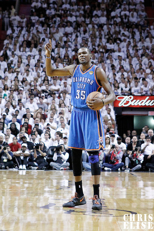 19 June 2012: Oklahoma City Thunder small forward Kevin Durant (35) sets the offense during the Miami Heat 104-98 victory over the Oklahoma City Thunder, in Game 4 of the 2012 NBA Finals, at the AmericanAirlinesArena, Miami, Florida, USA.