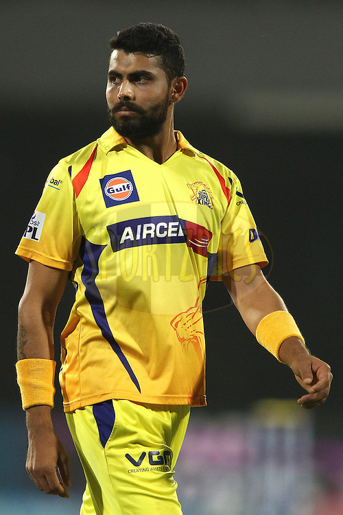 Ravindra Jadeja of The Chennai Super Kings during match 26 of the Pepsi Indian Premier League Season 2014 between the Delhi Daredevils and the Chennai Super Kings held at the Feroze Shah Kotla cricket stadium, Delhi, India on the 5th May  2014<br /> <br /> Photo by Shaun Roy / IPL / SPORTZPICS<br /> <br /> <br /> <br /> Image use subject to terms and conditions which can be found here:  http://sportzpics.photoshelter.com/gallery/Pepsi-IPL-Image-terms-and-conditions/G00004VW1IVJ.gB0/C0000TScjhBM6ikg