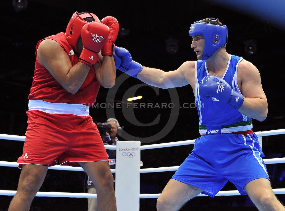 Londra, 06/08/2012.<br /> XXX Olimpiadi London 2012.<br /> Boxe.  Super Heavy (+91kg), quarti di finale. <br /> Roberto CAMMARELLE batte il marocchino ARJAOUI Mohammed 12-11<br /> Foto di Simone Ferraro / GMT