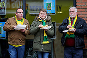Norwich fans eating outside the stadium before the EFL Sky Bet Championship match between Norwich City and Blackburn Rovers at Carrow Road, Norwich, England on 27 April 2019.