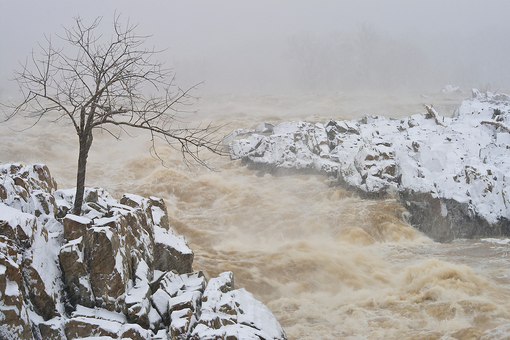 High water on the Great Falls of the Potomac during a heavy January snowstorm, Great Falls National Park, Great Falls, Virginia