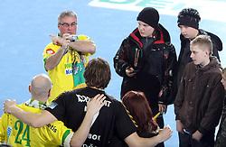 Sergej Harbok with Slovenian fans after the 1st Main round of EHL Champions League match between RK Celje Pivovarna Lasko (SLO) and Rhein Neckar Lowen (GER), on February 14, 2009, in Arena Zlatorog, Celje, Slovenia. Rhein Neckar Lowen won 34:28.  (Photo by Vid Ponikvar / Sportida)
