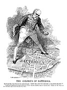 "The Colossus of Battersea. The Right Hon. John Burns (to his native borough). ""Shift me and you become a 'blasted heath'!"" [""If he were defeated the borough would never recover from the indelible stigma of rejecting him."" - Report, in ""The Times,"" of Mr. John Burns speech at the Battersea Town Hall.]"