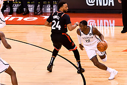 February 11, 2019 - Toronto, Ontario, Canada - Caris LeVert #22 of the Brooklyn Nets runs around Norman Powell #24 of the Toronto Raptors during the Toronto Raptors vs Brooklyn Nets NBA regular season game at Scotiabank Arena on February 11, 2019, in Toronto, Canada (Toronto Raptors win 127-125) (Credit Image: © Anatoliy Cherkasov/NurPhoto via ZUMA Press)