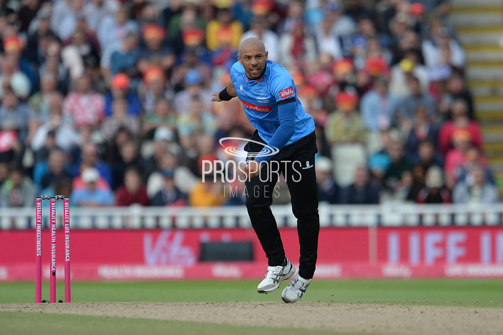 Tymal Mills of Sussex bowling during the Vitality T20 Finals Day semi final 2018 match between Sussex Sharks and Somerset County Cricket Club at Edgbaston, Birmingham, United Kingdom on 15 September 2018.