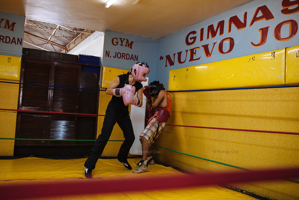 Ana Maria Torres Ramirez during her training in Mexico City, April 7, 2011. Ana Maria is well known as La Guerrera in the boxing circuit; she is one of most prominent athlete from Ciudad Nezahualcoyotl. She is world champion and maintains a gym where trains inexpensively children and youth from the community.