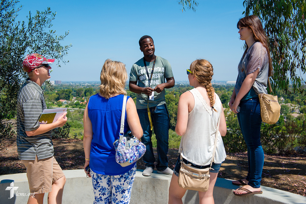 Campus ambassador Wesley Barnes leads a tour at Concordia University Irvine on Wednesday, July 9, 2014, in Irvine, Calif. LCMS Communications/Erik M. Lunsford