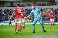 Jordan Smith and Danny Fox of Nottingham Forest during the EFL Sky Bet Championship match between Wolverhampton Wanderers and Nottingham Forest at Molineux, Wolverhampton, England on 20 January 2018. Photo by Darren Musgrove.