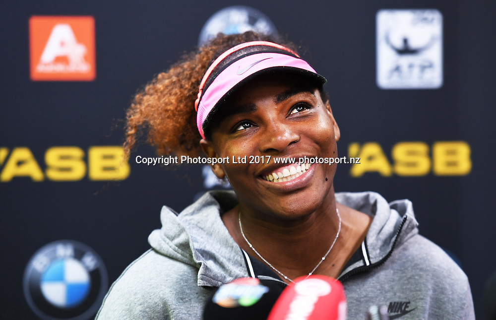 Serena Williams during a press conference after her first round singles match at the ASB Classic. WTA Womens Tournament. ASB Tennis Centre, Auckland, New Zealand. Tuesday 3 January 2017. © Copyright photo: Andrew Cornaga / www.photosport.nz