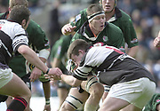 Sport - Rugby 27/04/2002 Parker Pen Shield - Semi-Final.London Irish vs Pontypridd - Kassam Stadium - Oxford.Exiles Captain, Ryan Strudwick is held up by Michael Owen..[Mandatory Credit, Peter Spurier/ Intersport Images].