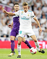 Real Madrid's Marcos Llorente (r) and ACF Fiorentina's Giovanni Simeone during Santiago Bernabeu Trophy. August 23,2017. (ALTERPHOTOS/Acero)