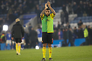 Troy Deeney (9) of Watford applauds the traveling supporters during the Premier League match between Leicester City and Watford at the King Power Stadium, Leicester, England on 4 December 2019.
