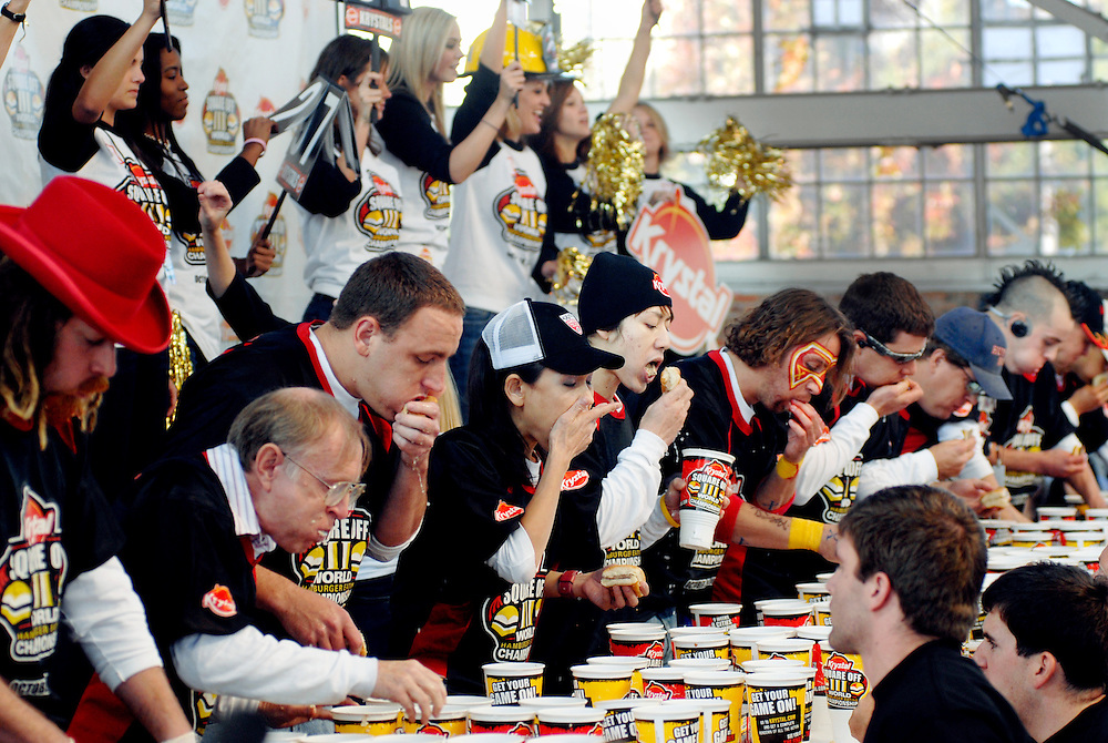 Krystal Square Off III World Hamburger Eating Championship, Chatanooga, Tennessee, USA.