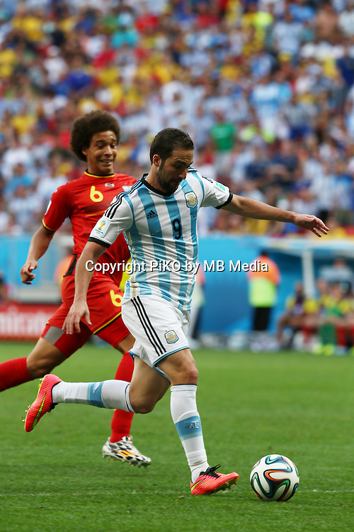 Fifa Soccer World Cup - Brazil 2014 - <br /> ARGENTINA (ARG) Vs. BELGIUM (BEL) - Quarter-finals - Estadio Nacional Brasilia -- Brazil (BRA) - 05 July 2014 <br /> Here Belgium player Axel WITSEL (L) and Argentine player Gonzalo Higuain (R)<br /> &copy; PikoPress