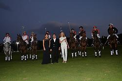 Left to right, PRINCESS TAMARA CZARTORYSKI, NASIB PIRIYEV and NATALIA VODIANOVA at the Chovgan Twilight Polo Gala in association with the PNN Group held at Ham Polo Club, Petersham Close, Richmond, Surrey on 10th September 2014.