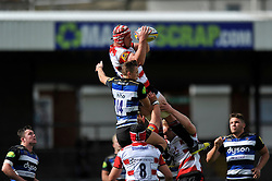 Tom Savage of Gloucester Rugby wins the ball in the air - Mandatory byline: Patrick Khachfe/JMP - 07966 386802 - 13/09/2015 - RUGBY UNION - Memorial Stadium - Bristol, England - Gloucester Rugby v Bath Rugby - West Country Challenge Cup.