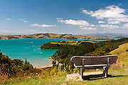 scenic island view from hill top on waiheke island, auckland, new zealand