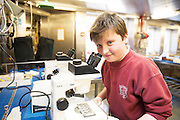As part of the SEA FOR SOCIETY ocean awareness initiative Tom McDonald and his class mates  from Scoil Iognaid Galway visited the Marine Institute's RV Celtic Explorer . Photo:Andrew Downes:XPOSURE