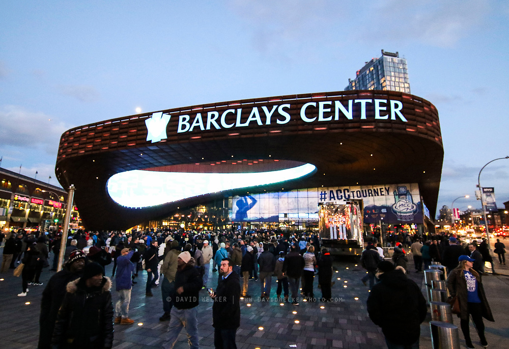 Fans enter through the main gates during the semifinals of the 2017 New York Life ACC Tournament at the Barclays Center in Brooklyn, N.Y., Friday, March 10, 2017. (Photo by David Welker, theACC.com)