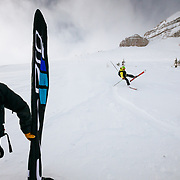 Mike Janssen almost crashing into the finish line during the Powder 8s in Jackson, WY.