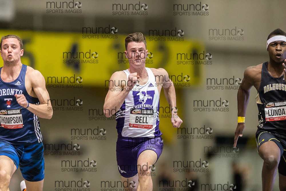 Windsor, Ontario ---2015-03-12--- Riley Bell of Western competes in the 60m at the 2015 CIS Track and Field Championships in Windsor, Ontario, March 12, 2015.<br /> GEOFF ROBINS/ Mundo Sport Images