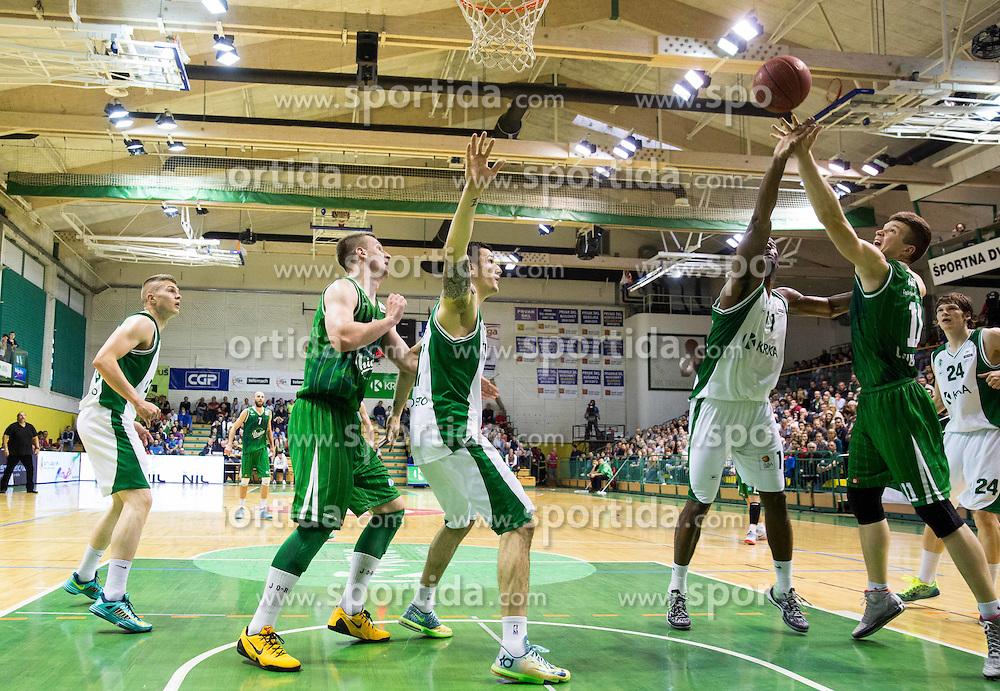 Christopher Booker of Krka vs  Dino Muric of Olimpija during basketball match between KK Krka and KK Union Olimpija in 10th Round of Slovenian National Championship 2013/14, on April 28, 2014 in Dvorana Leona Stuklja, Novo mesto, Slovenia. Photo by Vid Ponikvar / Sportida